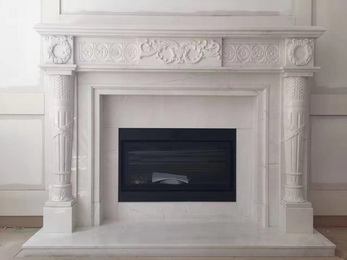 Indoor marble carving fireplace surround