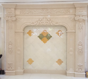 Indoor marble and onyx  carving fireplace