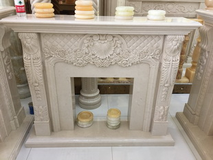 Indoor marble carving fireplace mantel