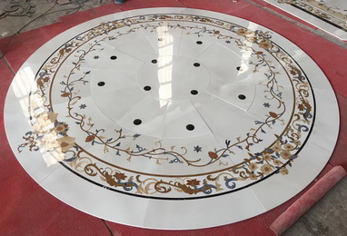 Beautiful lobby royal Waterjet Medallions Marble Inlay Patter Interior Stone Waterjet Floor Medallion