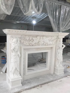 Royal style natural stone carved fireplace surround mantel