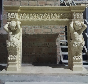 Customed make marble carved fireplace mantel with figure design